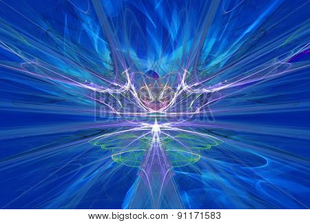 Mysterious alien form magnetic fields in the blue sky. Fractal art graphics