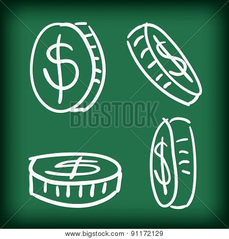 Money Coins Set Hand Drawn Doodle Vector Illustration