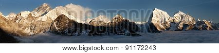 Evening Panoramic View From Gokyo Ri