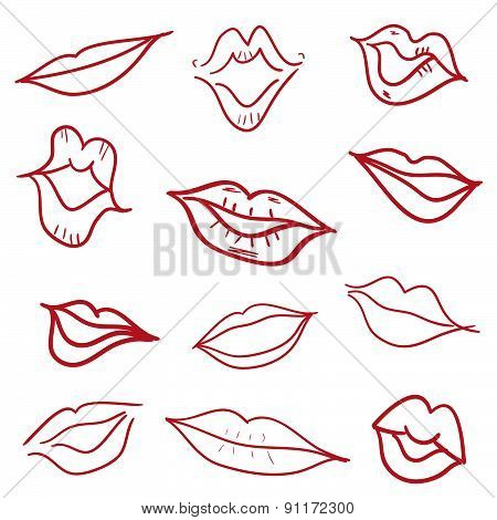 Red Kiss Lips Mouth Hand Drawn Vector Illustration
