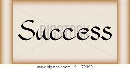 Success Word On Scroll Paper Vector Illustration