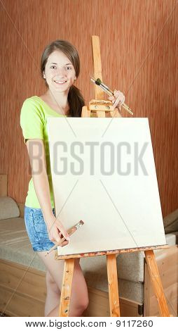 Girl With Brushes Standing  Near Easel