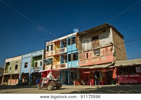 Street view in the town of Puerto Lopez, Manabi, Ecuador