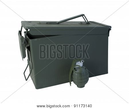 Military Ammunition Case And Hand Grenade
