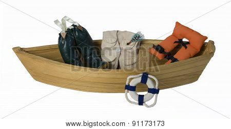 Boat With Fishing Gear And Life Vest