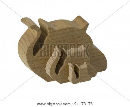 Interlocking Wooden Cats