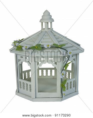 White Gazebo With Vine Of Flowers