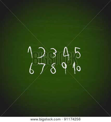 Chalk hand drawing Numbers design, vector illustration.