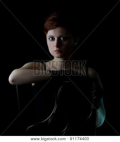 Beautiful redhead woman with short  hair