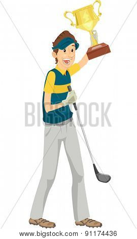 Illustration of a Golfer Showing Off His Championship Trophy