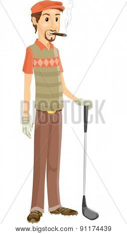 Illustration of a Man Smoking Tobacco While Playing Golf