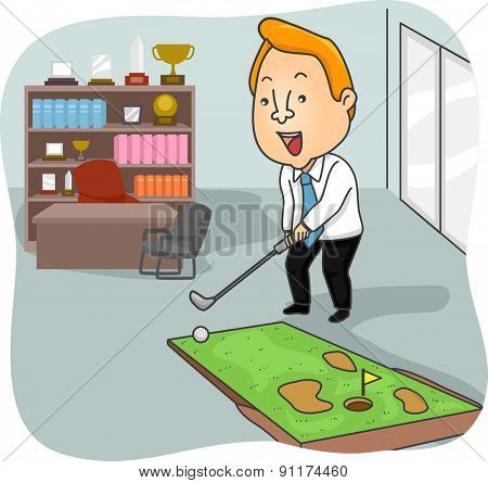 Illustration of a Man Playing with a Miniature Golf Course in His Office