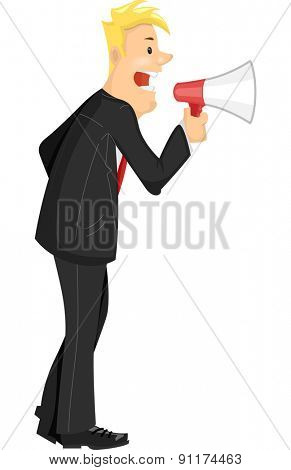 Illustration of a Businessman Using a Megaphone to Give Out Commands