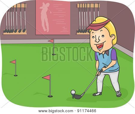 Illustration of a Man Playing in an Indoor Golf Course