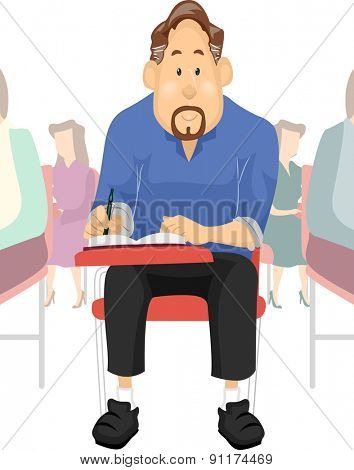 Illustration of an Elderly Student Taking an Examination