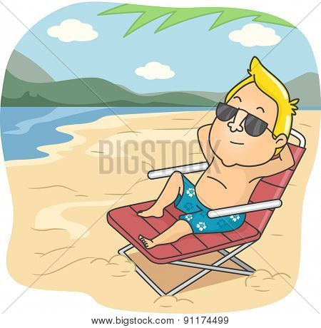 Illustration of a Man Sitting on a Reclining Chair in a Beach