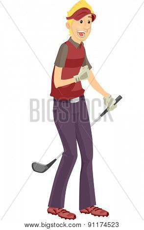 Illustration of a Golfer Doing a Fist Pump in Glee