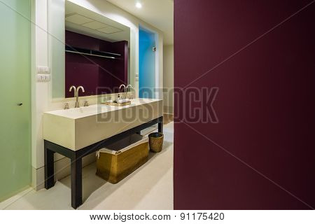Red And White Bathroom Interior, Modern Equipment