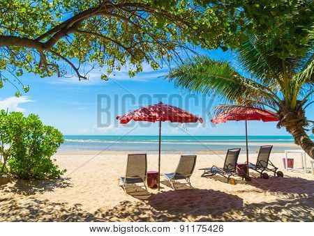 Turquoise Sea, Deckchairs, White Sand And Palms, Sun