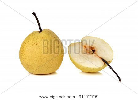 Chinese Pear Or Nashi Pear With Stem On White Background