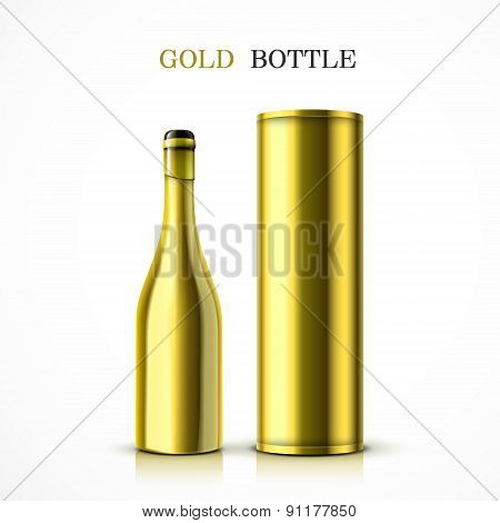 Luxury Golden Champagne Bottle