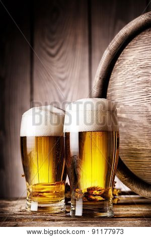 Two glass of light beer