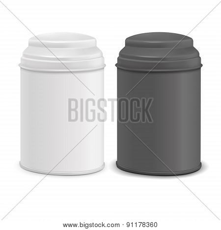 Round Tin Packaging Set In White And Black