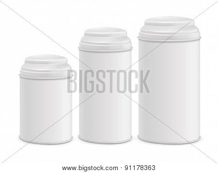 White Round Tin Packaging Set