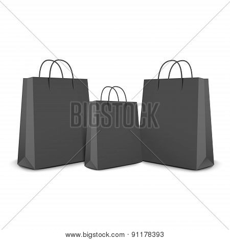 Black Shopping Bags Set