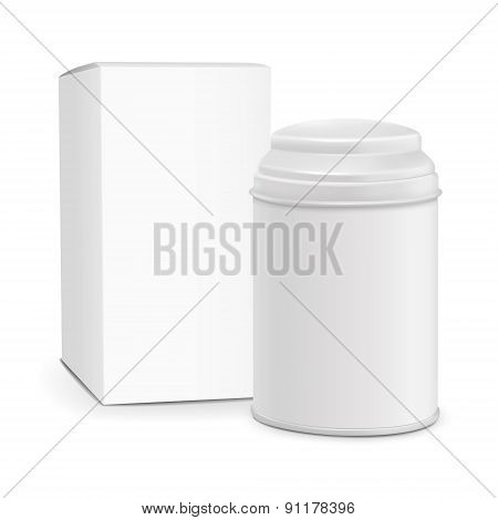 White Round Tin Packaging With Paper Box
