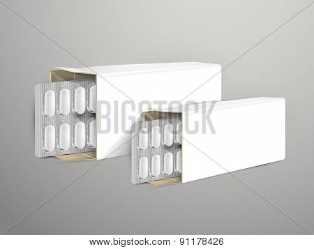 Pills With White Package Paper Box