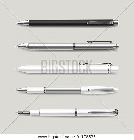 Graceful White Pens Set