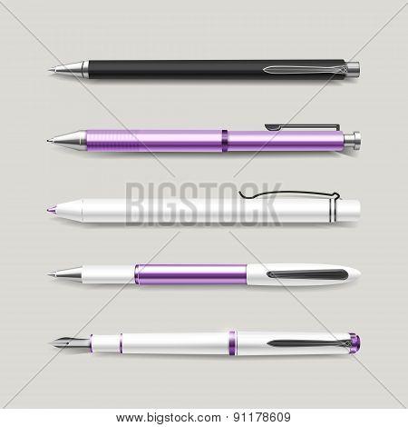 Graceful Purple Pens Set