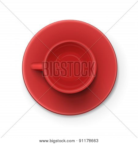 Top View Of An Red Elegant Cup