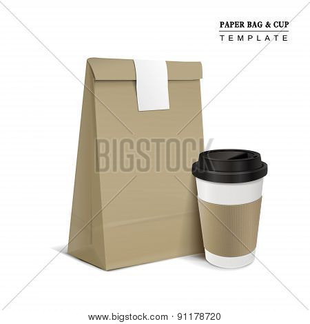 Paper Bag And Coffee Cup