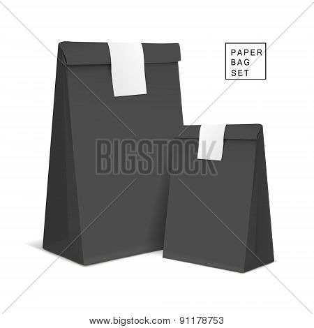 Black Paper Bags With Sticker