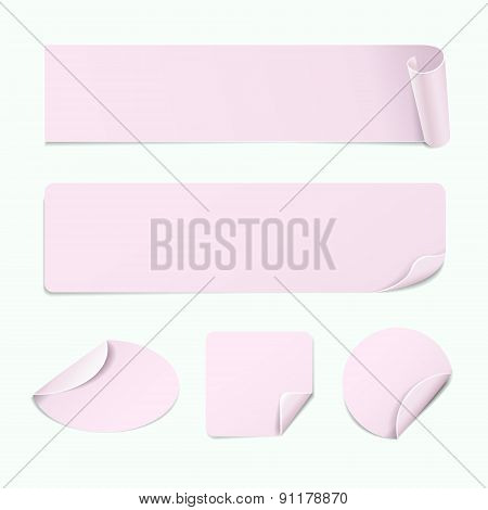 Set Of Paper Pink Stickers