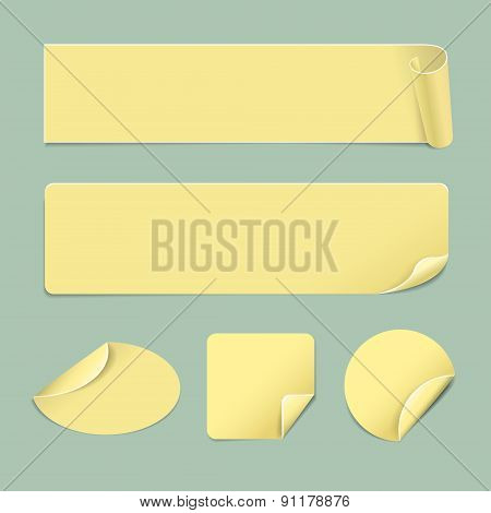 Set Of Paper Yellow Stickers