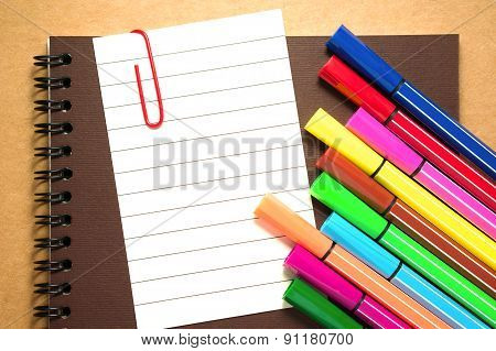 Note Paper With Colorful Markers