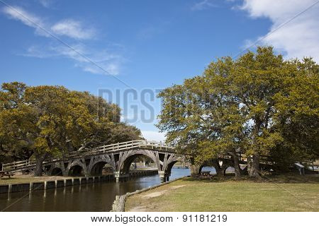 The footbridge in Corolla in Heritage Park is on the National Register of Historic Places.