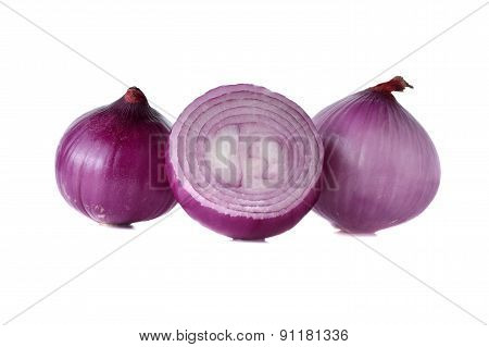 Peeled Red Onion, Shallots On White Background