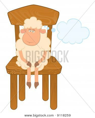 Cartoon funny sad sheep sits on a chair