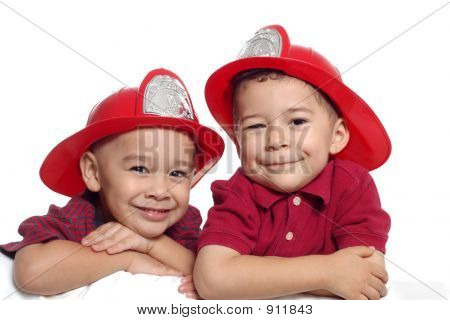 Boys With Fireman Hats