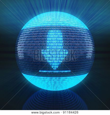 Download icon on globe formed by binary code