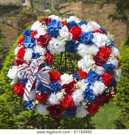 Wreath on Memorial Day at military memorial in New York