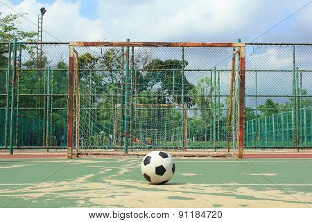Ball In Front Of Futsal Goal At Outdoor Futsal Court