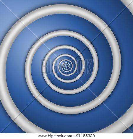 Digital Rendered White Spiral Background On Blue