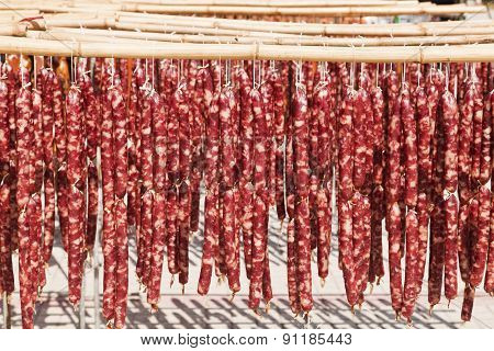 Drying Chinese sausage under the Sun