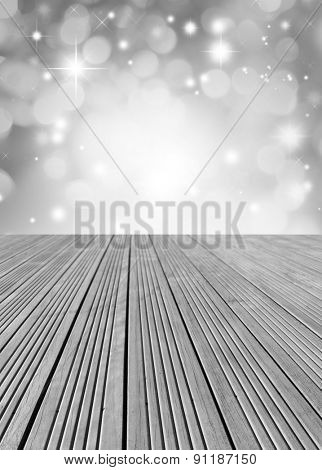 Empty floor in front of abstract grey background
