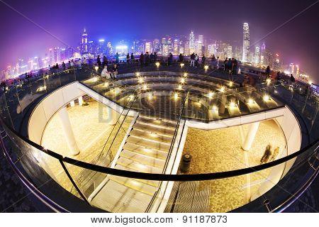 Hong Kong waterfront area at night